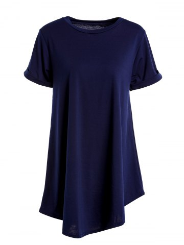 Store Casual Round Collar Cuffed Sleeve High Low Solid Color Dress For Women CADETBLUE ONE SIZE(FIT SIZE XS TO M)