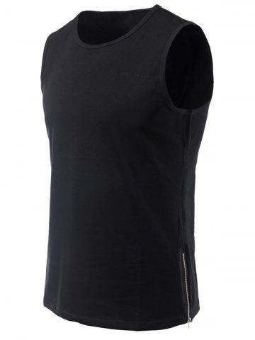 Round Neck Side Zipper Conception ample Tank Top For Men Noir S