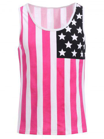 Shop Fashion Round Neck American Flag Print Hit Color Tank Top For Men