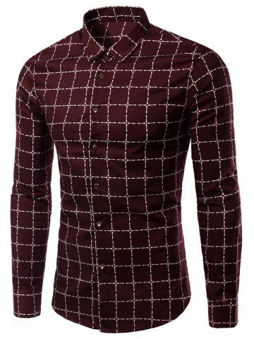 Trendy Turn-Down Collar Long Sleeve Checked Pattern Button-Down Shirt For Men
