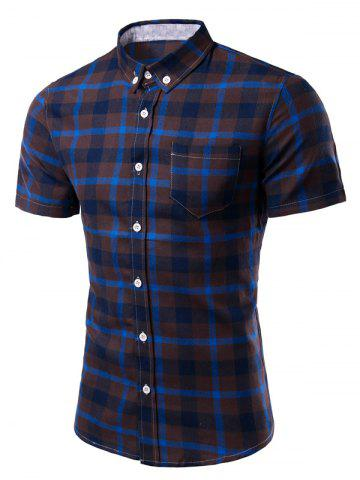 Outfit Turn-Down Collar Checked Pattern Slimming Short Sleeve Shirt For Men