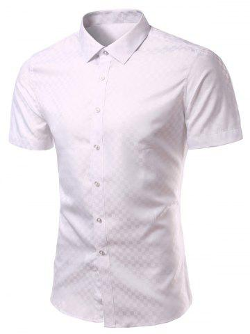 Chic Turn-Down Collar Checked Solid Color Short Sleeve Shirt For Men