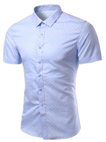 Latest Turn-Down Collar Checked Solid Color Short Sleeve Shirt For Men