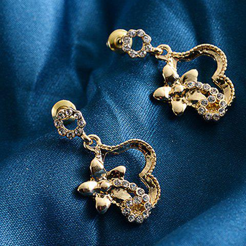 Online Pair of Rhinestone Flower Hollow Out Drop Earrings GOLDEN