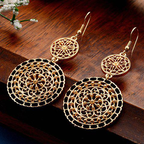 Affordable Filigree Flower Round Drop Earrings BLACK