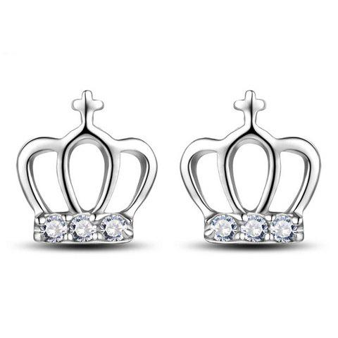 Chic Pair of Rhinestone Alloy Crown Stud Earrings