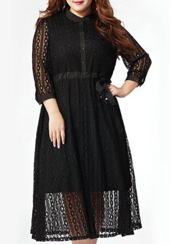 Sale Stylish Plus Size Stand Up Collar 3/4 Sleeve Lace Hollow Out Dress For Women