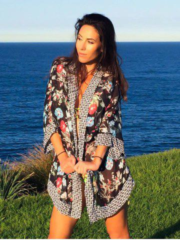 Buy Stylish 3/4 Sleeve Floral Printed Cover-Up For Women - ONE SIZE(FIT SIZE XS TO M) BLACK Mobile