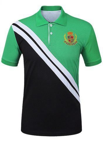 Trendy Casual Pullover Color Block Men's Polo T-Shirt