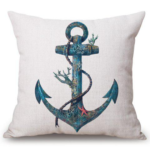 Fancy Fashion Old Anchor Pattern Square Shape Flax Pillowcase (Without Pillow Inner)
