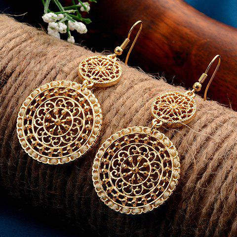 Discount Filigree Flower Round Drop Earrings YELLOW
