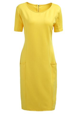 Hot Chic Plus Size Round Collar Short Sleeve Solid Color Spliced Women's Dress