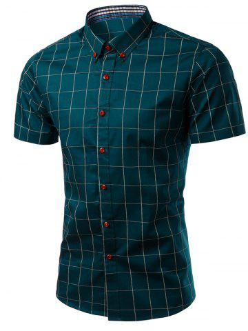 Unique Turn-Down Collar Checked Pattern Button-Down Short Sleeve Shirt For Men