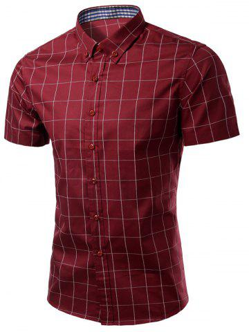 Outfits Turn-Down Collar Checked Pattern Button-Down Short Sleeve Shirt For Men