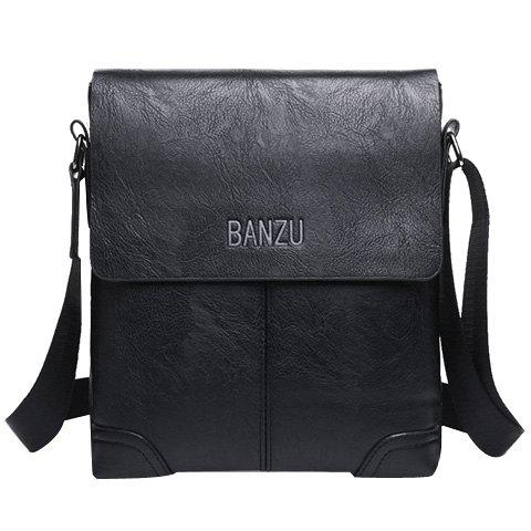 Store Retro Letter and PU Leather Design Messenger Bag For Men