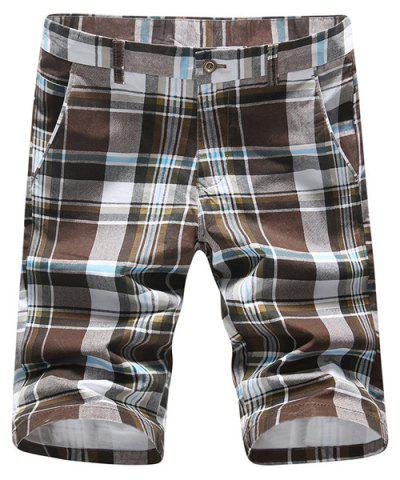 Buy Casual Straight Leg Color Block Plaid Zipper Fly Shorts For Men