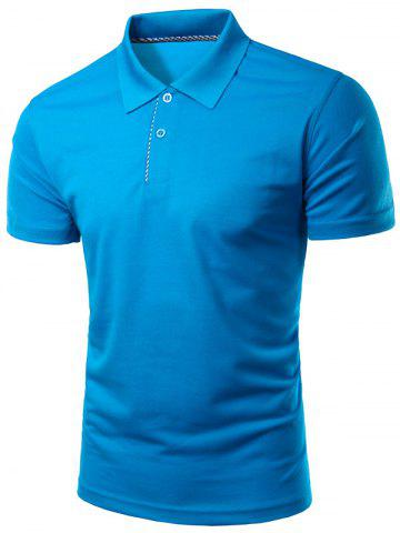 Latest Slimming Turn-Down Collar Solid Color Short Sleeve Polo T-Shirt For Men - L SAPPHIRE BLUE Mobile