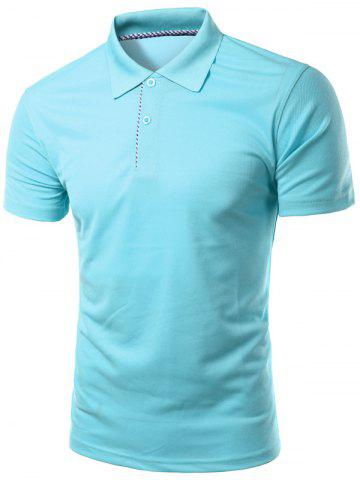 Discount Slimming Turn-Down Collar Solid Color Short Sleeve Polo T-Shirt For Men