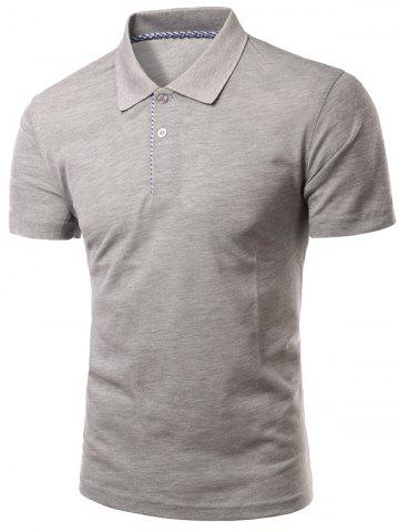 Trendy Slimming Turn-Down Collar Solid Color Short Sleeve Polo T-Shirt For Men - M GRAY Mobile