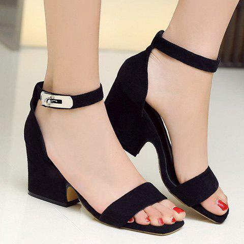 Cheap Suede Block Heel Ankle Strap Sandals - 36 BLACK Mobile