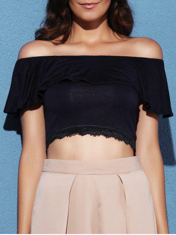 Store Short Sleeve Off The Shoulder Lace Splicing Crop Top