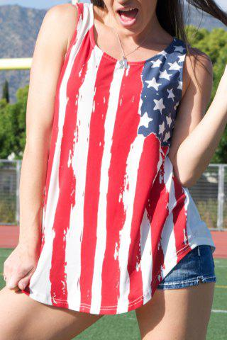 American Flag Print Patriotic Scoop Neck Tank Top - Red With White - M