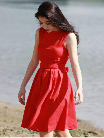Shop Vintage Boat Neck Sleeveless Solid Color Self-Tie Women's Dress - S RED Mobile