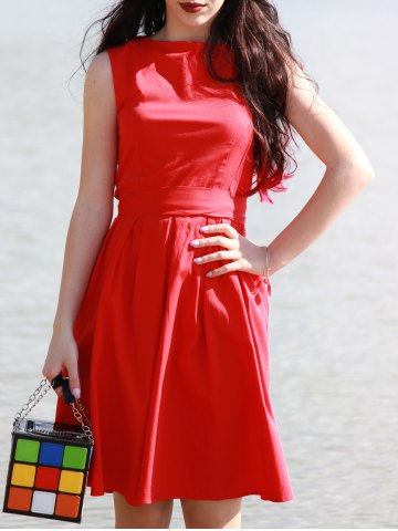 Chic Vintage Boat Neck Sleeveless Solid Color Self-Tie Women's Dress RED S