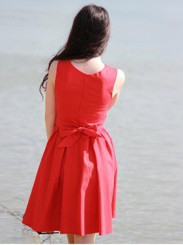 Fashion Vintage Boat Neck Sleeveless Solid Color Self-Tie Women's Dress - M RED Mobile