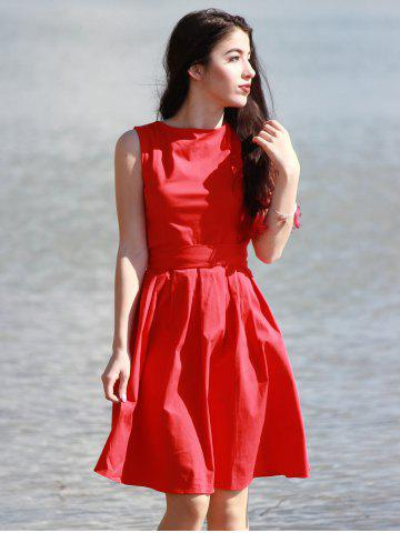 Cheap Vintage Boat Neck Sleeveless Solid Color Self-Tie Women's Dress - M RED Mobile
