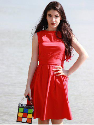 Fashion Vintage Boat Neck Sleeveless Solid Color Self-Tie Women's Dress - XL RED Mobile