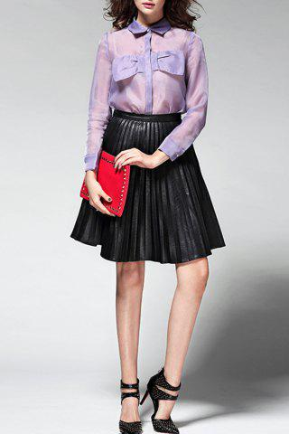 Chic Pleated Pure Color Skirt