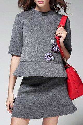 Chic Beading Flounced Top and Skirt Twinset