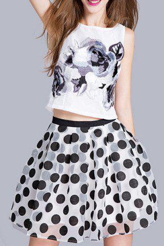 Fancy Embroidered Top and Polka Dot Print Ball Skirt
