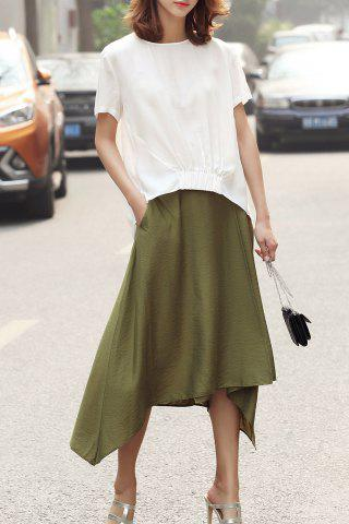 Discount Solid Color Asymmetric Skirt