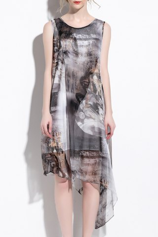 Chic Scoop Neck Silk Printed Asymmetrical Dress