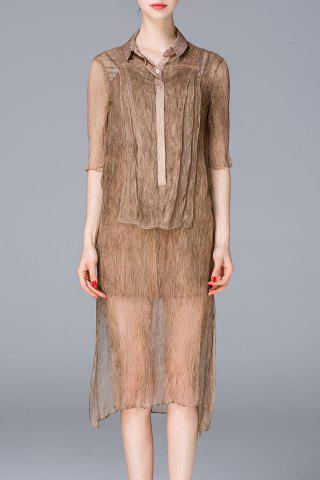 Fancy See-Through Shirt Dress and Tank Top Twinset