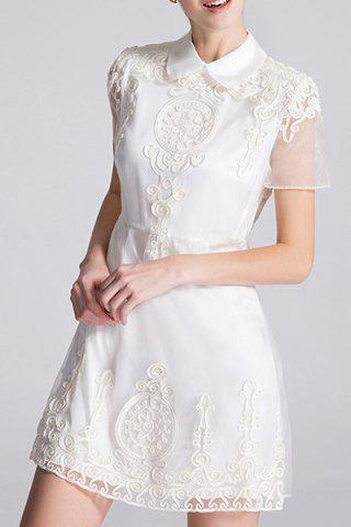 Affordable Flat Collar Embroidered A Line Dress