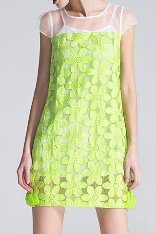 Online Flower Embroidery See-Through Mini Dress with Tank Top