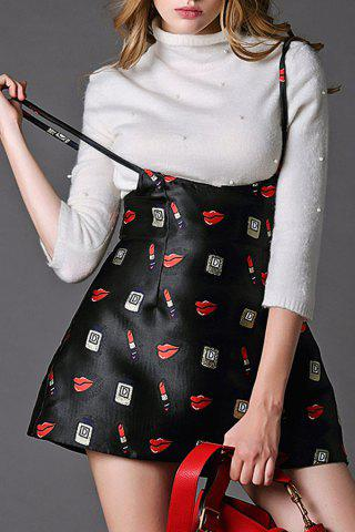 Sale High Waist Print Suspender Skirt