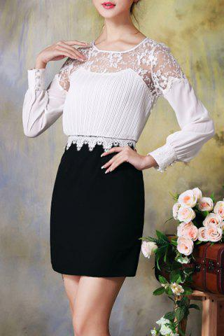 Best Round Collar Ruched Laced Bodycon Dress