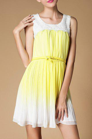 Hot Scoop Neck Ombre Pleated Dress