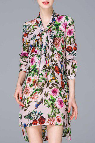 Trendy Bow Collar Floral Dress