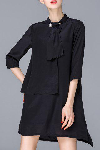 Fashion Stand Collar Solid Color Irregular Dress