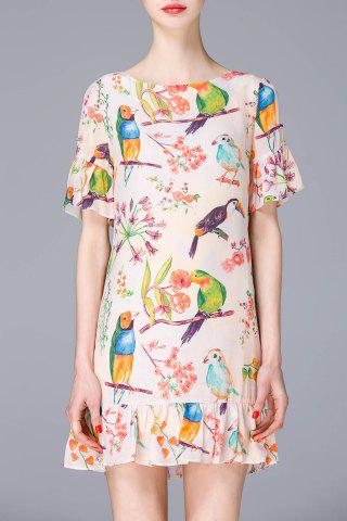 Chic Round Collar Floral and Birds Print Ruffles Dress