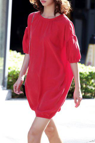 Trendy Lantern Sleeve Solid Color Dress