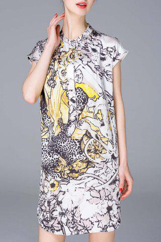 Outfit Cap Sleeve Printed Shirt Dress