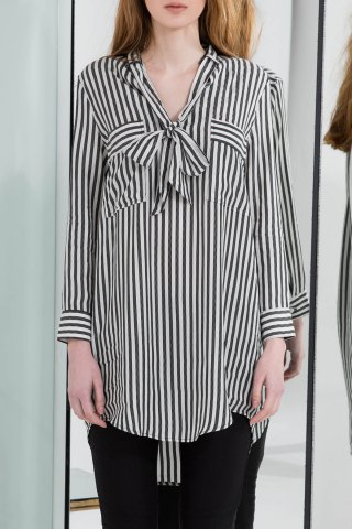 Unique Vertical Striped Asymmetric Shirt