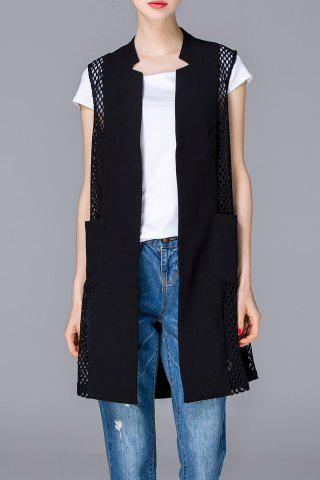 Cheap Cut Out Solid Color Long Vest