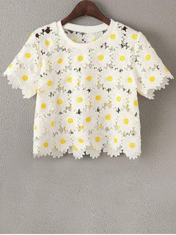 Discount Daisy Pattern Lace Crop Top T-Shirt